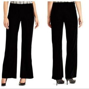 CHAPS Black Velvet Velour Wide Leg Pants